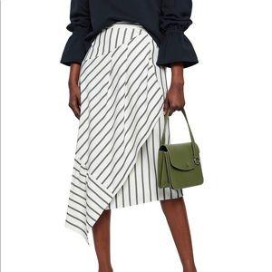 Tibi Asymmetric Twill Midi Skirt Size 8